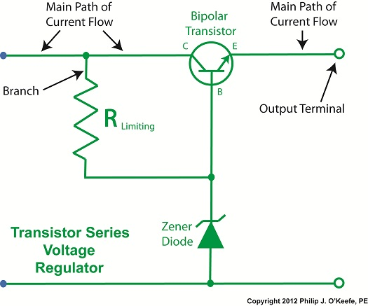 transistor series voltage regulator with Zener diode